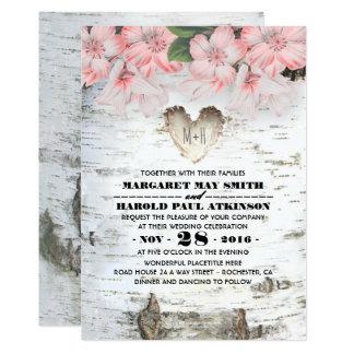 Mariage campagnard rustique de coeur d'écorce carton d'invitation  12,7 cm x 17,78 cm