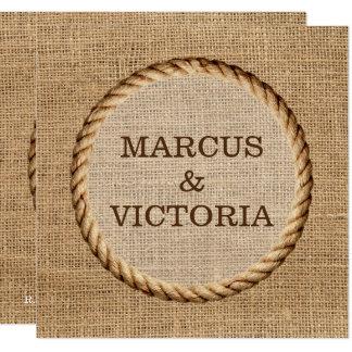 Mariage campagnard rustique Invitiation de corde Carton D'invitation 13,33 Cm
