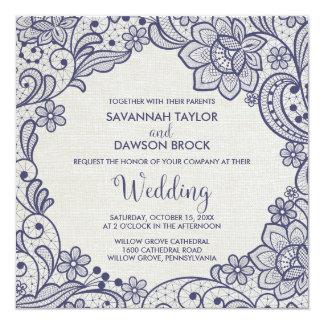 Mariage carré floral de la dentelle | de toile de carton d'invitation  13,33 cm