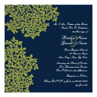 Mariage carré floral de marine et de chaux cartons d'invitation
