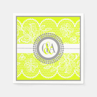 Mariage Chartreuse et blanc de motif de dentelle Serviettes Jetables