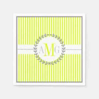 Mariage Chartreuse et blanc de motif rayé Serviette En Papier