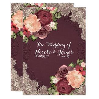 Mariage chic de dentelle élégante marron et de carton d'invitation  12,7 cm x 17,78 cm