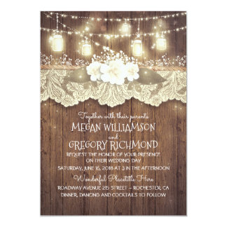 Mariage chic de pays rustique de dentelle de pots carton d'invitation  12,7 cm x 17,78 cm