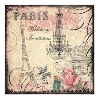 Mariage chic de Tour Eiffel et de lustre Carton D'invitation 13,33 Cm