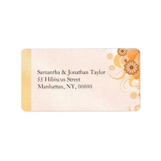 Mariage chic floral d'or de ketmie ene ivoire de étiquettes d'adresse