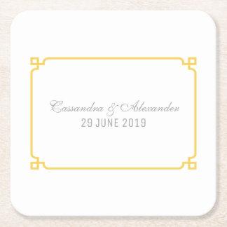 Mariage chic jaune de Deco Dessous-de-verre Carré En Papier