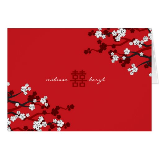 Mariage chinois chic de fleurs de cerisier blanche cartes