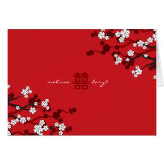 Mariage chinois chic de fleurs de cerisier carte de vœux