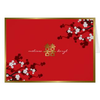 Mariage chinois de double bonheur de fleurs de cer carte de vœux