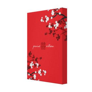 Mariage chinois de double bonheur de fleurs de toiles