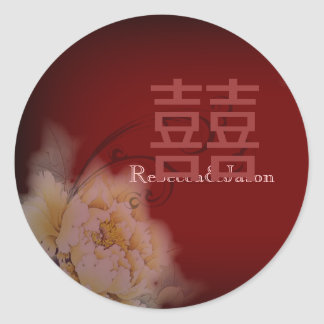 mariage chinois floral de pivoine vintage de sticker rond