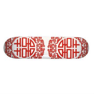 mariage chinois moderne de double bonheur rouge skateboards personnalisés