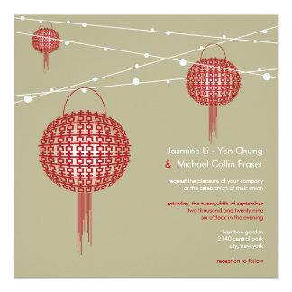 Mariage chinois moderne de doubles lanternes de carton d'invitation  13,33 cm