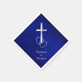 Mariage croisé chrétien argenté bleu serviettes jetables