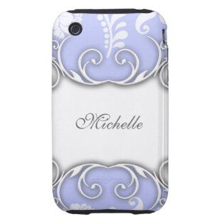 Mariage damassé floral bleu-clair et blanc coque iPhone 3 tough