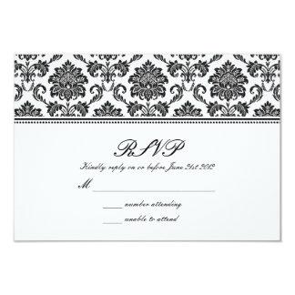Mariage damassé noir et blanc RSVP Carton D'invitation 8,89 Cm X 12,70 Cm