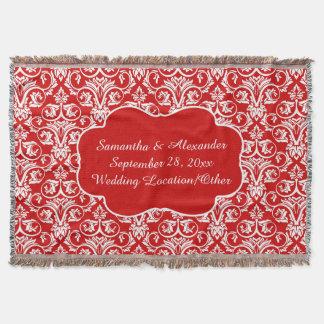 Mariage damassé personnalisé/rouge fait sur couverture