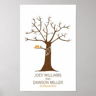 Mariage d'arbre d'empreinte digitale (blanc) affiches