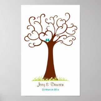 Mariage d'arbre d'empreinte digitale - Heartastic  Affiches