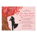 Mariage de automne affectueux de chêne d'initiales carton d'invitation  12,7 cm x 17,78 cm