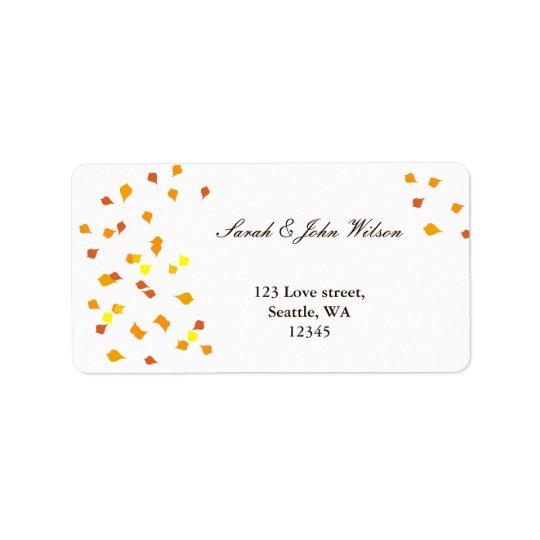 mariage de automne, étiquette de adresse de retour