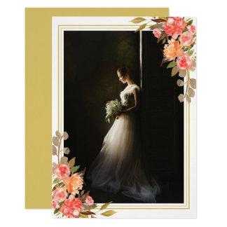 Mariage de automne floral de souvenir de photo de carton d'invitation  12,7 cm x 17,78 cm