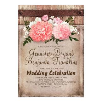 Mariage de automne floral rustique de toile de carton d'invitation  12,7 cm x 17,78 cm