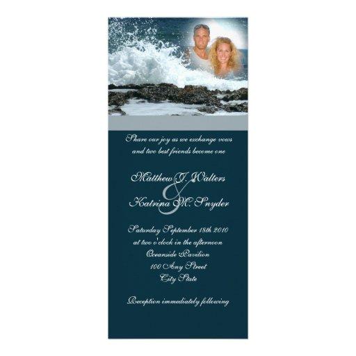 Mariage de bleu d'océan faire-part personnalisé