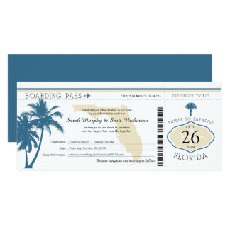 Mariage de carte d'embarquement de palmier de la carton d'invitation  10,16 cm x 23,49 cm