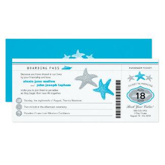 Mariage de carte d'embarquement d'étoiles de mer carton d'invitation  10,16 cm x 23,49 cm