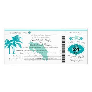 Mariage de carte d'embarquement du Costa Rica Carton D'invitation 10,16 Cm X 23,49 Cm