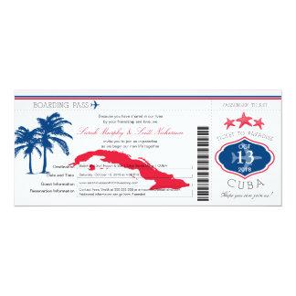 Mariage de carte d'embarquement du Cuba Carton D'invitation 10,16 Cm X 23,49 Cm