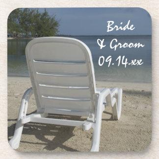 Mariage de chaise longue de plage dessous-de-verre