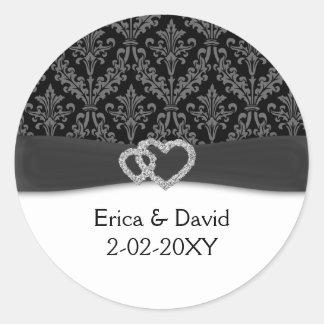 mariage de charbon de bois de damassé de diamante sticker rond