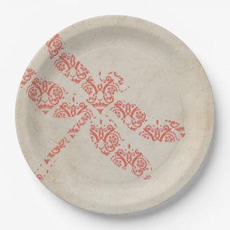 Mariage de corail de libellule de damassé assiettes en papier