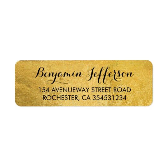 Mariage de feuille d'or étiquette d'adresse retour