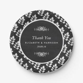 Mariage de feuille florale de tableau assiettes en papier