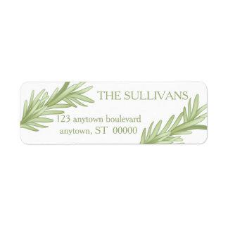 Mariage de fines herbes de brins de Rosemary Étiquette D'adresse Retour