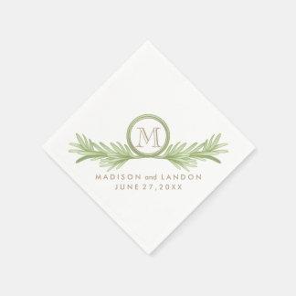 Mariage de fines herbes de brins de Rosemary Serviettes En Papier