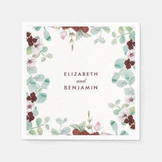 Mariage de jardin de guirlande de fleurs de serviettes jetables