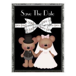Mariage de jeune mariée et de marié d'ours de noun cartes postales