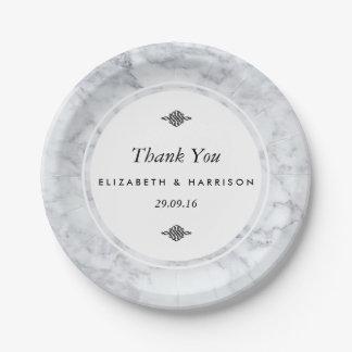 Mariage de marbre vintage élégant assiettes en papier