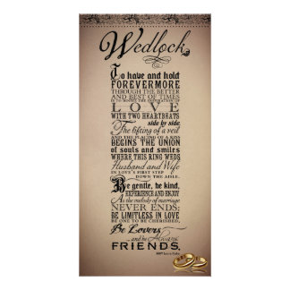 Mariage de mariage épousant le poème original cartes de vœux avec photo