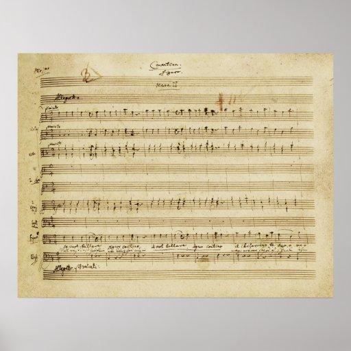 Mariage de Mozart de copie de manuscrit de Figaro Poster