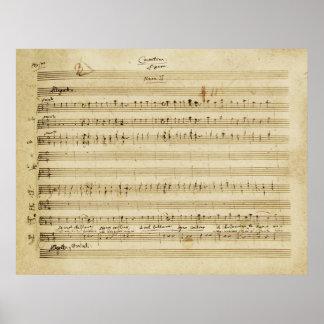 Mariage de Mozart de copie de manuscrit de Figaro Posters