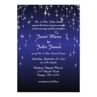 Mariage de nuit étoilée dans bleu-foncé carton d'invitation  12,7 cm x 17,78 cm