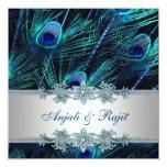 Mariage de paon de bleu royal d'argent de bleu faire-parts