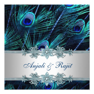Mariage de paon de bleu royal d'argent de bleu roy