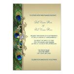 Mariage de paon de vert vert et d'or carton d'invitation  12,7 cm x 17,78 cm